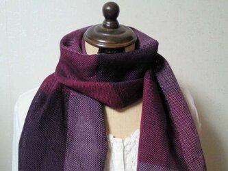 手織り☆大人の秋色リネンストールの画像