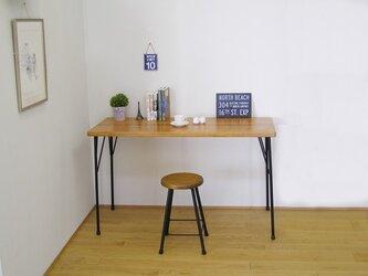 *メープル*天然杉の古材とアイアン(鉄)脚で作ったカフェ風カウンターテーブル・作業台の画像