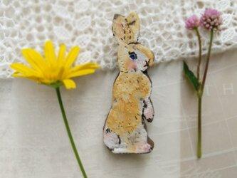 野ウサギのミニブローチの画像