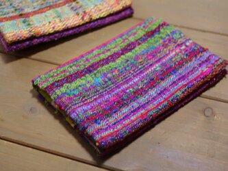 手織り 手帳カバーの画像