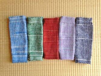 秋冬用ロングレッグウォーマー 紺×白(一番右)の画像