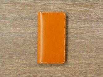 牛革 iPhoneXS/Xカバー  ヌメ革  レザーケース  手帳型  キャメルカラーの画像