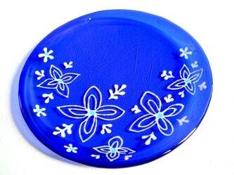 サイケな花のコバルトブルー皿の画像