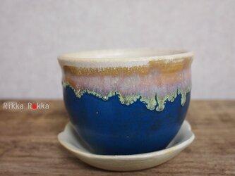 植木鉢受け皿セット【藍色】の画像