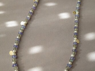K10 Medal Tanzanite・Labradorite・Pearl Long Necklaceの画像