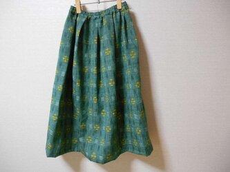 グリーンの紬のスカートの画像