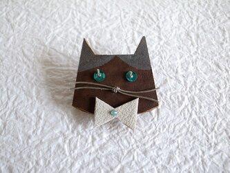 アンテナひげの猫ブローチ(SILVER)の画像