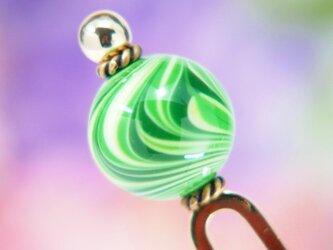 流線とんぼ玉のかんざし 緑 二本足の画像