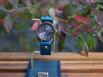 クラック ワールド ローマ Sサイズ 真鍮 ブルー コスモ 手作り腕時計の画像