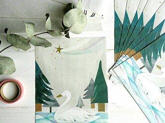 ミニレターセット/ 冬の湖と白鳥との画像