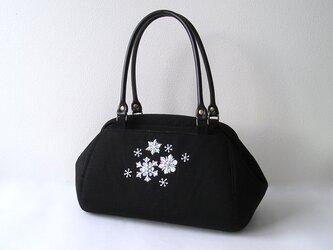 雪の結晶*ビーズ刺繍のボストンバッグ(17i-1)の画像