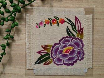 手染め 牡丹の華やぎコースターの画像
