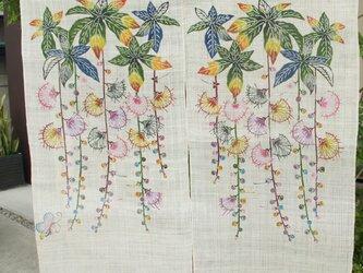 琉球びんがた サガリバナと蝶の暖簾の画像