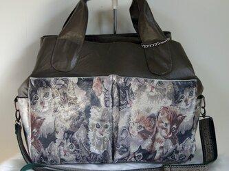 ォーリアオリジナル3バッグ合体型トート【国産ゴブラン織り猫】ラミネート加工ショルダー付の画像