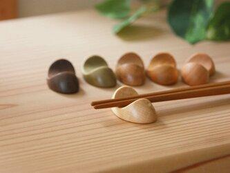 木の箸置き 豆形 ミニサイズ 木の種類いろいろ『6個』セットの画像
