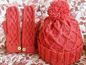【受注生産】羊毛ミトン&帽子の画像