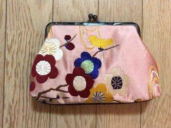 がまぐち・角型 大 桃色繻子帯地 花柄の画像