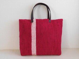 裂き織りバッグ 赤+白ラインの画像