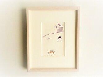 「三時の珍客」 イラスト原画 / 額縁入りの画像