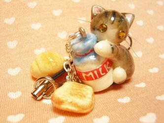 にゃんこのしっぽ○ミルクとパンのストラップ○さばしろ猫○ミニチュアの画像