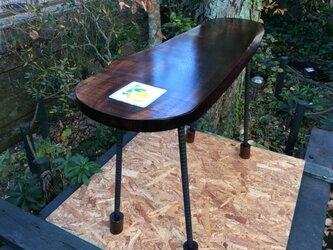 ニレの丸テーブル【高さオーダー品】#457の画像