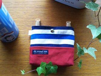 シンプルな移動ポケット 子ども用 帆布ボーダー赤の画像