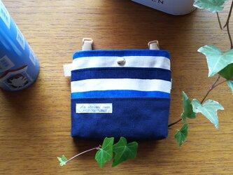 シンプルな移動ポケット 子ども用 帆布ボーダー紺 の画像