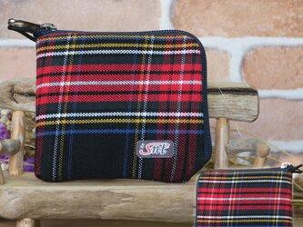 【薄い財布】倉敷帆布 カード・お札・小銭一括収納 二つ折り財布 赤系格子 紺ファスナーの画像
