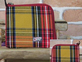 【薄い財布】倉敷帆布 カード・お札・小銭一括収納 二つ折り財布 黄系格子 赤ファスナーの画像