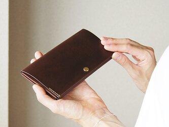 スマート長財布・チョコレート(イタリア産牛革、経年変化あり) 薄い長財布ですっきり断捨離! caducカデュックの画像
