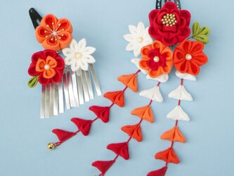 七五三♡【受注製作♬正絹 椿と小梅さん髪飾り オレンジ 朱色 赤 グラデーション つまみ細工  かんざしの画像