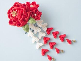 成人式♡正絹 椿の髪飾り 紅白下がり 【受注制作】つまみ細工  かんざし 和 浴衣 着物 結婚式の画像