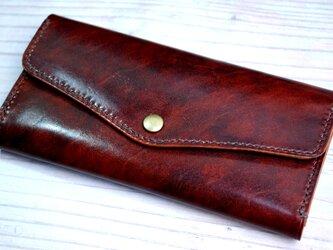 [送料無料] 手縫いの軽くて丈夫な高級アンティークレザー長財布がばっとコイン入れBRの画像