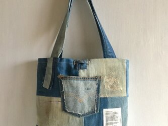 tote bag/ヴィンテージ デニムパッチワークのトートバッグ    ■tf-305の画像