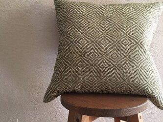 cushion cover[手織りクッションカバー]菱柄 若草の画像