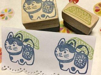 〓縁起はんこ〓【こま犬&竹籠】3㎝四方の画像