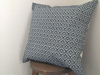 cushion cover[手織りクッションカバー] ネイビーの画像