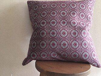 cushion cover[手織りクッションカバー] ヴィンテージ風ワインレッドの画像