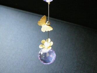 蝶々のアメジスト お花のミニサンキャッチャー 天然石の画像