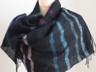 手織り 黒地に19色のボーダー柄の画像