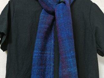 手紡ぎ手織りマフラー #1の画像