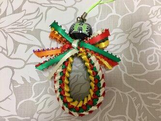 ハワイアンリボンレイ【ストレス ストラップ 白・緑系】完成品の画像
