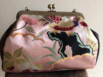 がまぐちバッグ・角型口金  桃色繻子帯地 花鳥柄の画像