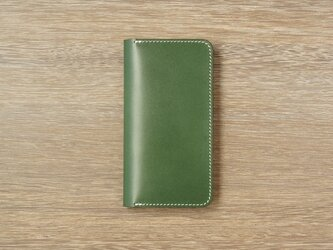 牛革 iPhoneXS/Xカバー  ヌメ革  レザーケース  手帳型  グリーンカラーの画像