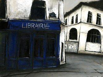 風景画 パリ 油絵「街角の青い本屋」の画像