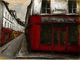 風景画 パリ 油絵「街角の赤いパン屋」の画像
