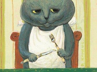 カマノレイコ オリジナル猫ポストカード「ステーキ」2枚セットの画像