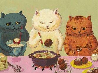 カマノレイコ オリジナル猫ポストカード「ドーナツづくり」2枚セットの画像