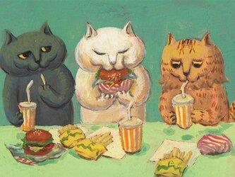 カマノレイコ オリジナル猫ポストカード「ハンバーガー」2枚セットの画像