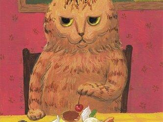 カマノレイコ オリジナル猫ポストカード「プリン・ア・ラ・モード」2枚セットの画像
